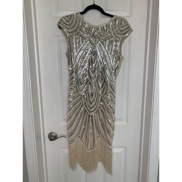 Dresses & Skirts - 1920s Sequin Beaded Flapper Fringe Dress - Gold